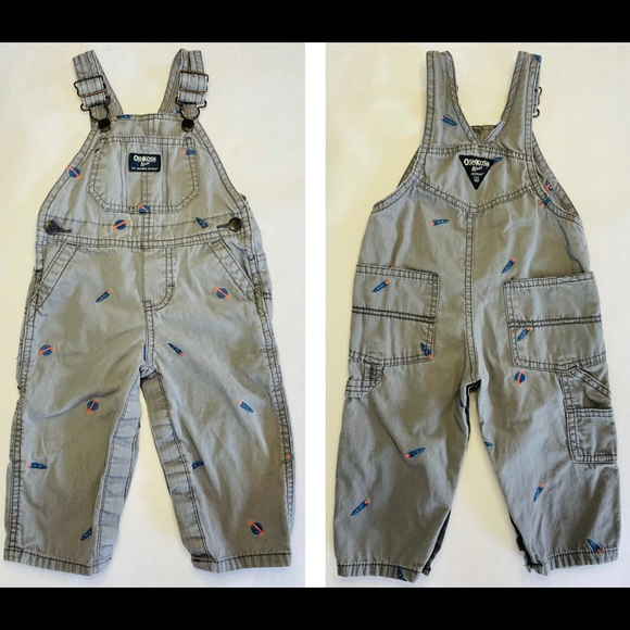 Osh Kosh- Overall with embroidered spaceships